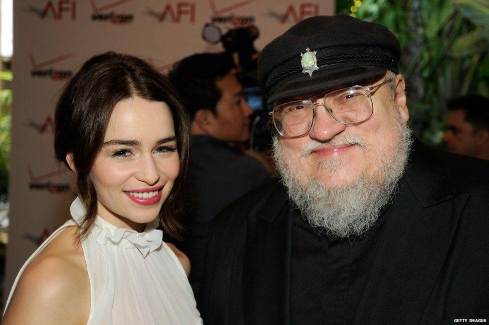 Emilia Clarke and George RR Martin
