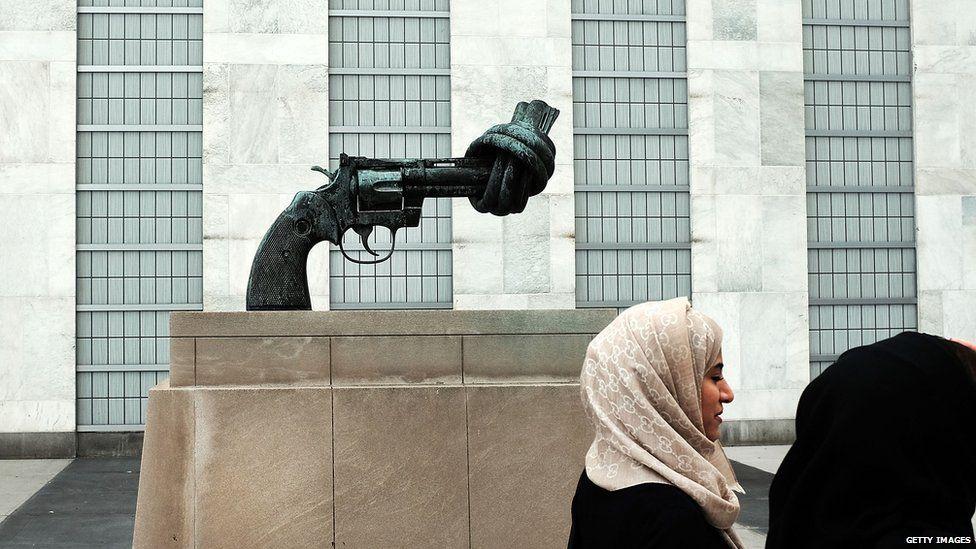 Non-Violence, a bronze sculpture by Swedish artist Carl Fredrik Reutersward