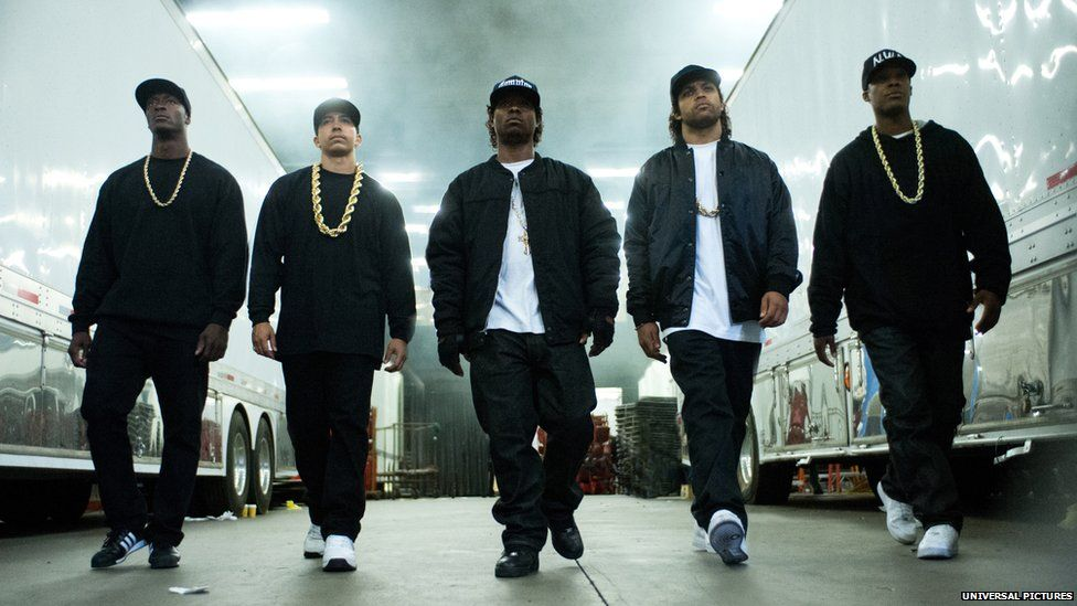 The cast of Straight Outta Compton in character