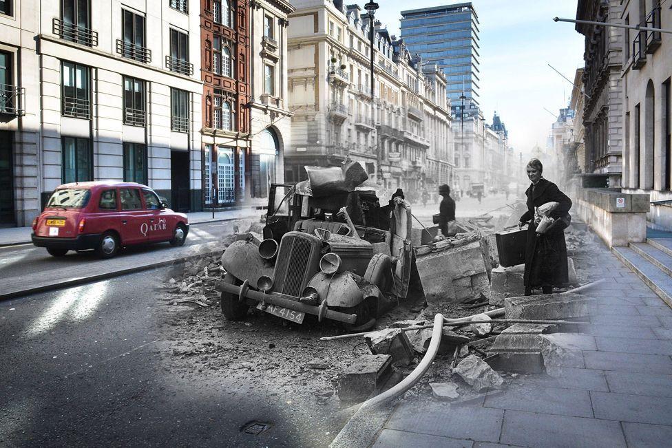 Una calle moderna y a color en el Reino Unido en la que se, en blanco y negro, un auto destruido y una mujer que intenta huir con sus pertenencias durante los bombardeos de la Segunda Guerra Mundial
