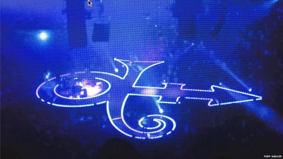"Prince performed inside a giant ""Symbol"" for his run of gigs at London's O2 in 2007"