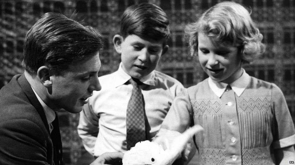 Prince Charles and Princess Anne meet David Attenborough in 1958.