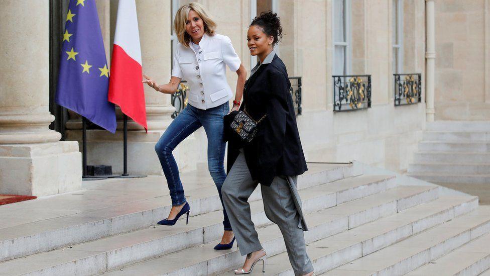 Rihanna with Brigitte Macron