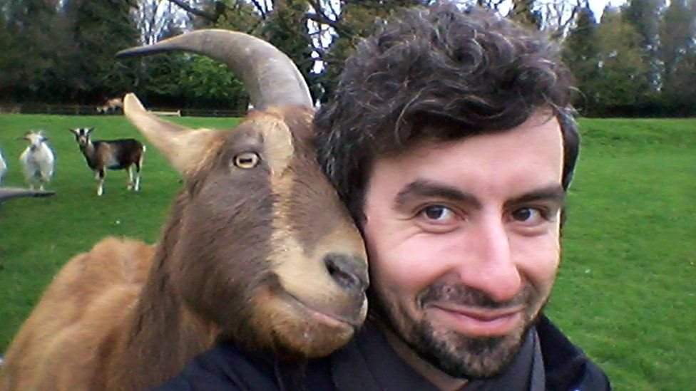 Lead researcher Dr Christian Nawroth with an affectionate goat