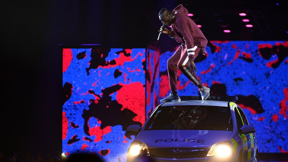 Stormzy performing at the MTV EMAs