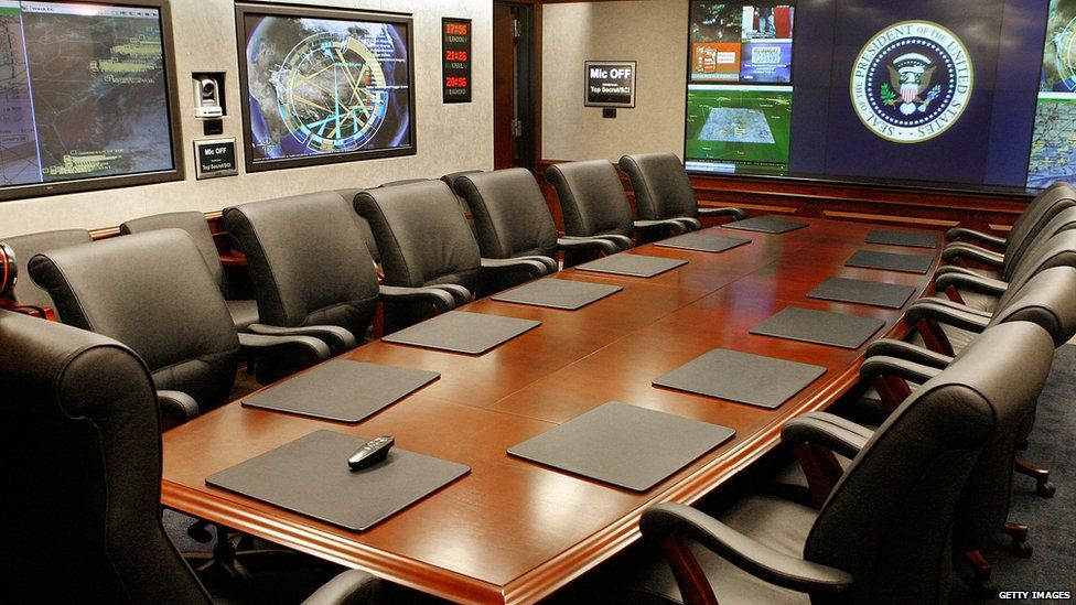 The situation room in the West Wing of the White House