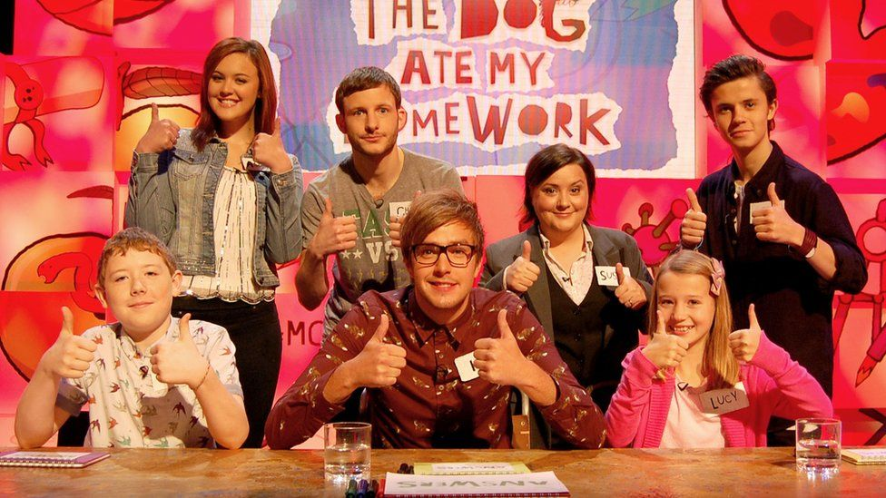 Cel Spellman with children, Iain Stirling and Susan Calman