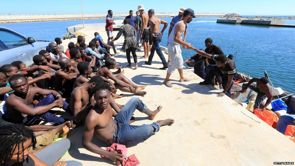 Libyan fishermen have been helping rescue immigrants after their boats capsized on the journey to Europe