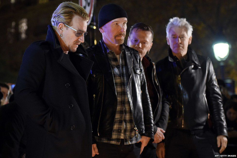Bono, The Edge, Larry Mullen Jr and Adam Clayton from U2