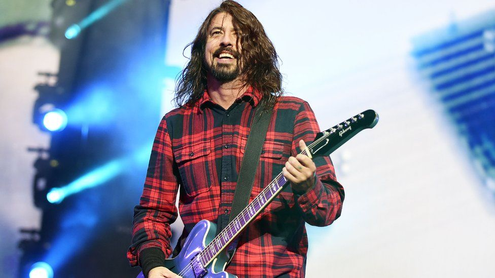Dave Grohl on stage at Radio 1's Big Weekend in Norwich