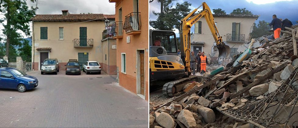 An image of a house in Amatrice before and after the earthquake in central Italy – 24 August 2016
