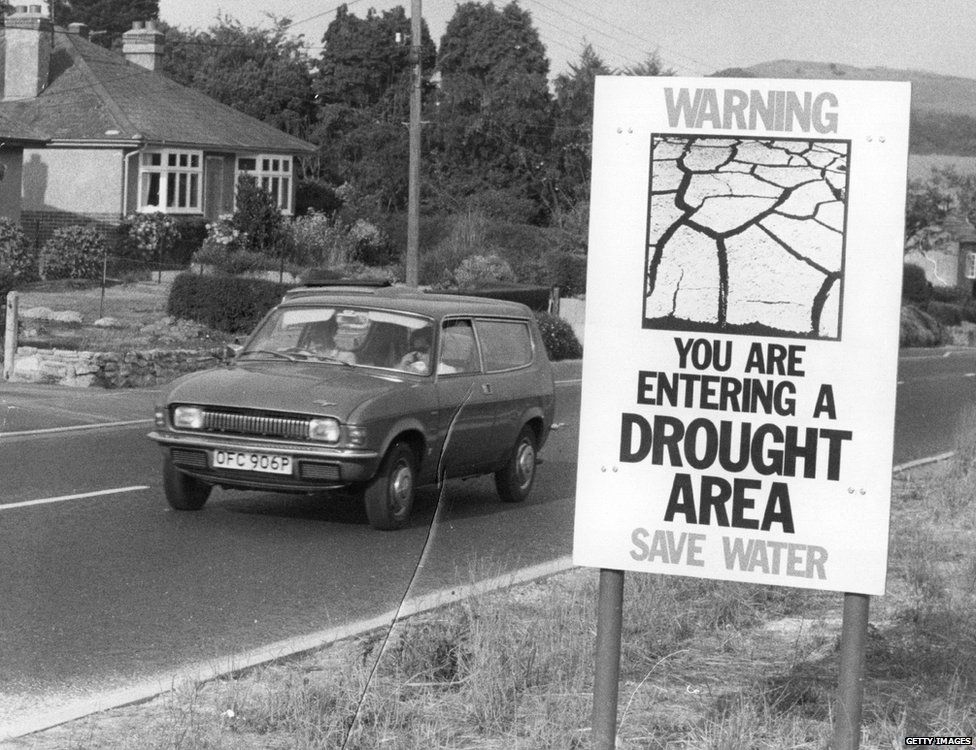 A public information notice warning about the drought, erected by the road in the Bridport area of Dorset