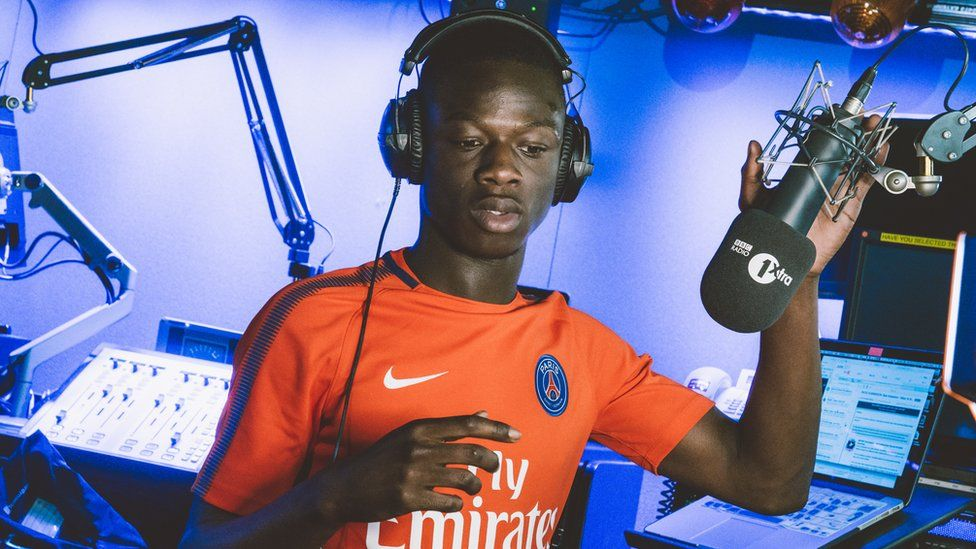 J Hus in the BBC Radio 1xtra studio