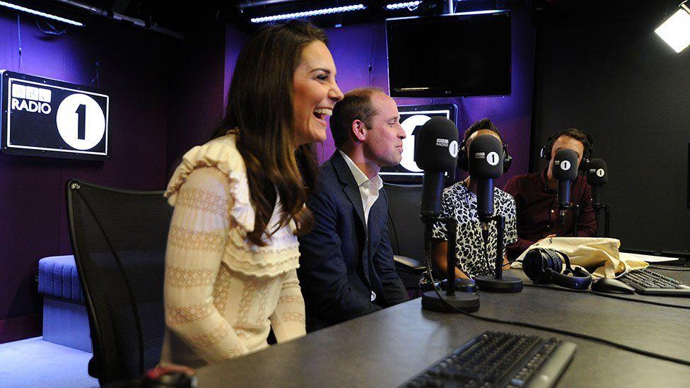 Duke and Duchess of Cambridge in the Radio 1 studio