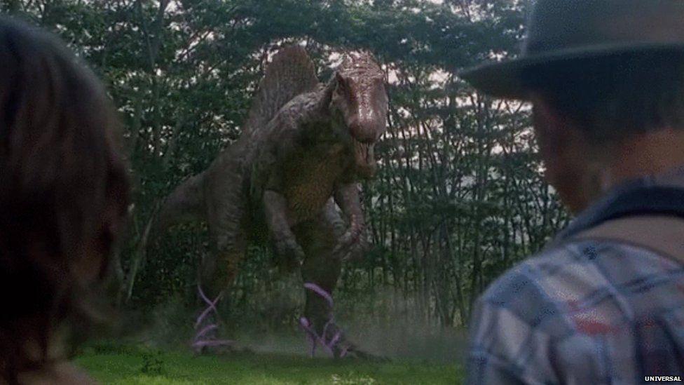 A big dinosaur in heels
