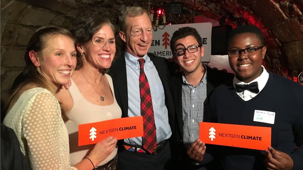 Victoria (right) with billionaire climate change activist Tom Steyer (centre)