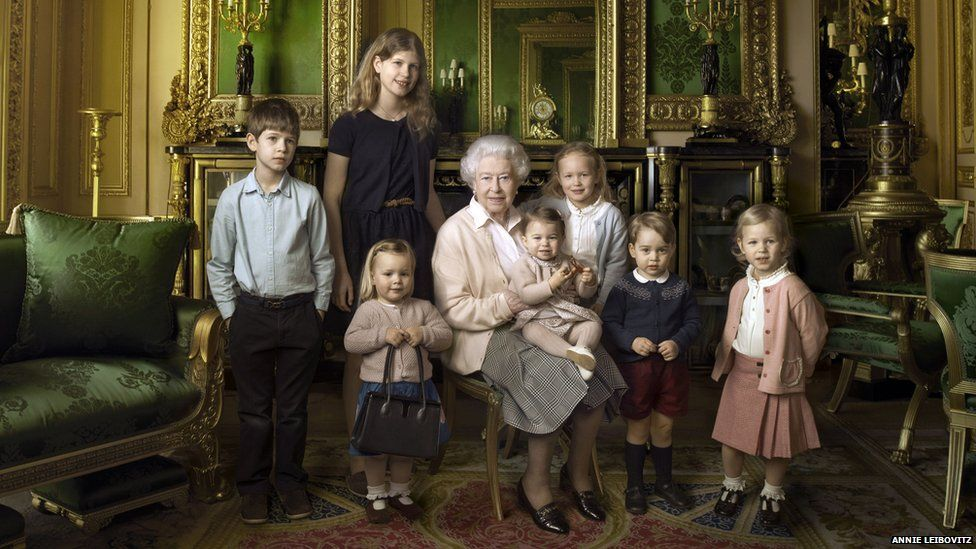 The Queen and her great grandchildren.