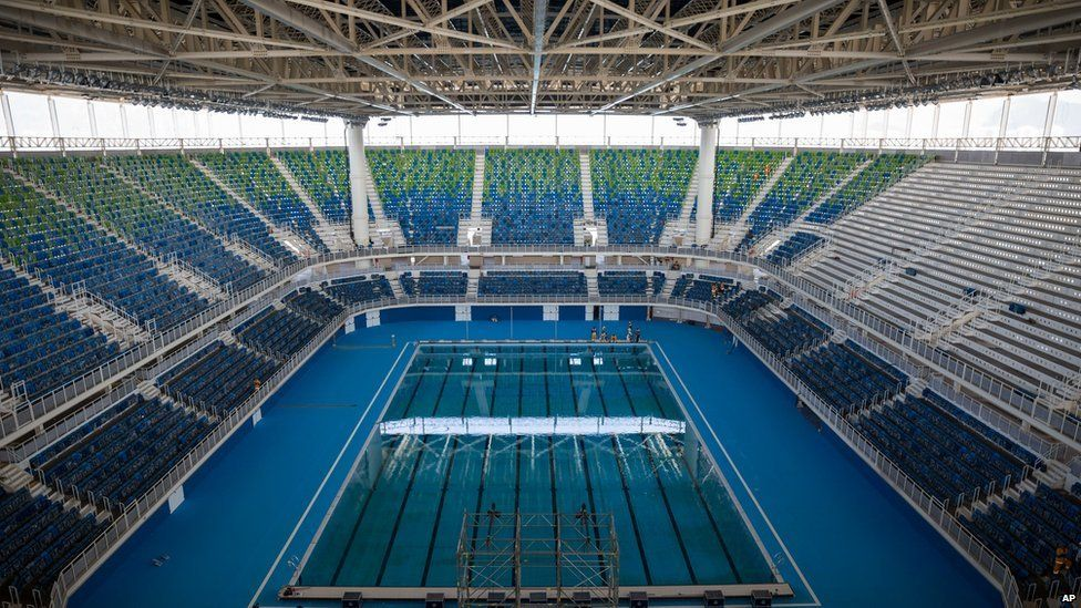 The Olympic Aquatics Stadium stands ready during a foreign media tour at the Olympic Park of the 2016 Olympics in Rio de Janeiro, Brazil, Monday, April 4, 2016