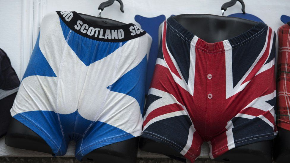 Underwear with the United Kingdom and Scottish Flags, on sale in Edinburgh
