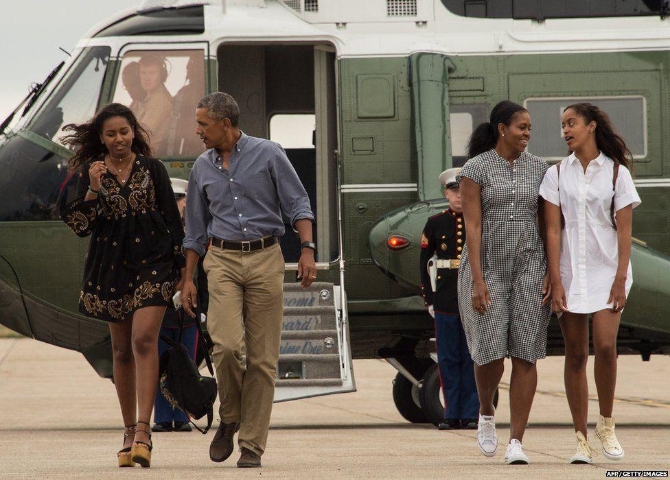Malia, Barack, Michelle and Sasha Obama