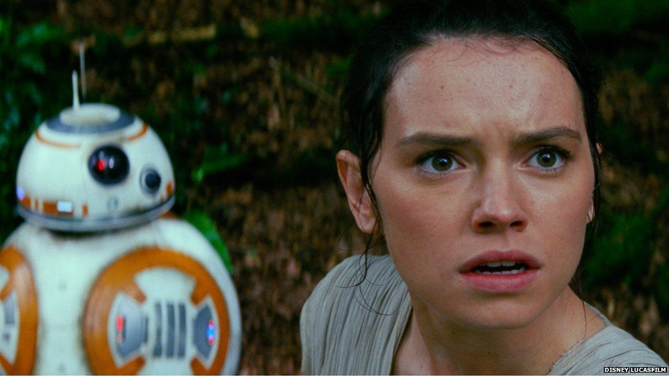 BB-8 and Rey in a scene from Stars Wars: The Force Awakens