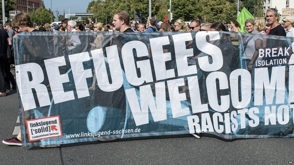 Pro-migrant march in Dresden, Germany
