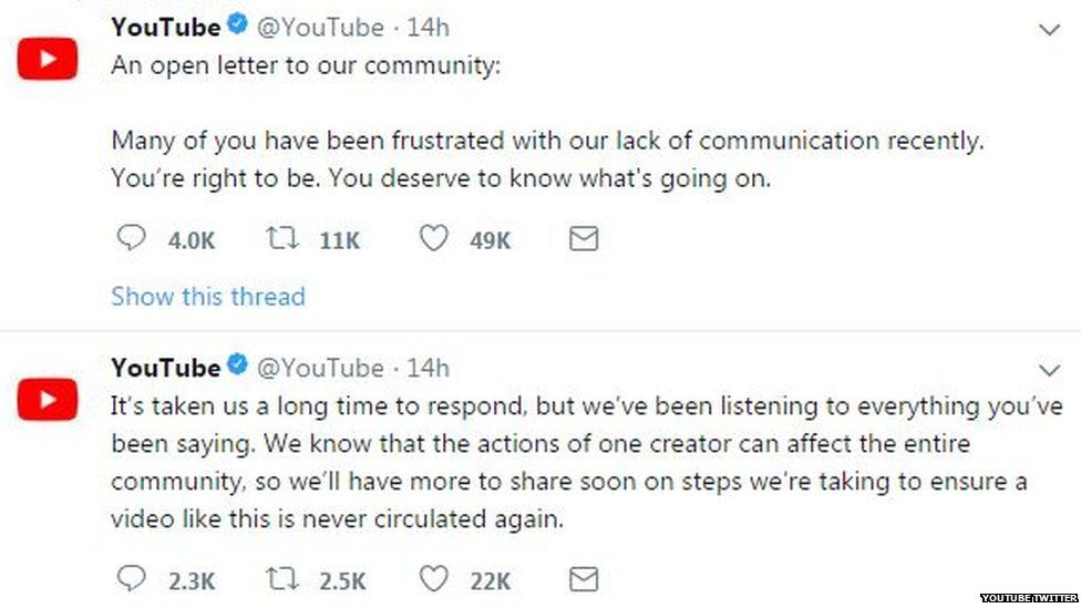 Screenshot of YouTube's twitter page and the statement it released