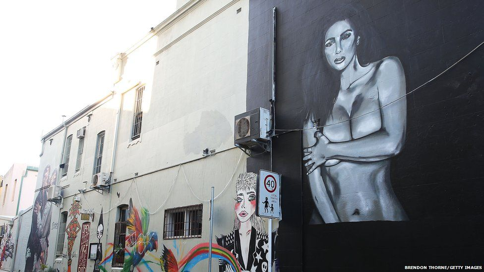 The naked Kim Kardashian mural in Sydney.