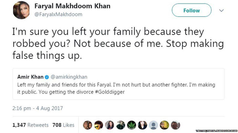 "A tweet from Faryal saying: ""stop making false things up"""