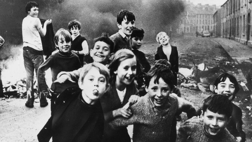 Children playing during the troubles