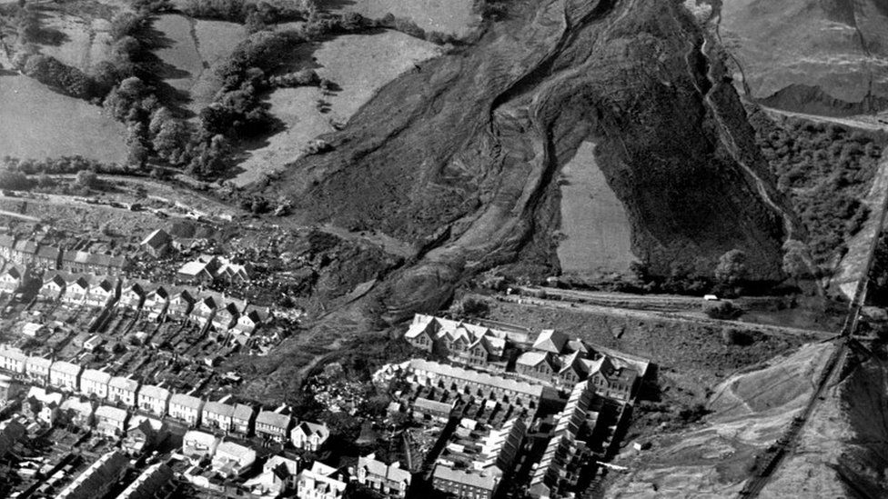 The aftermath of the landslide which engulfed Pantglas Junior School