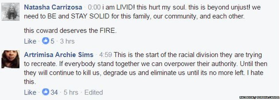 Comments from Facebook showing how upset people are by the video