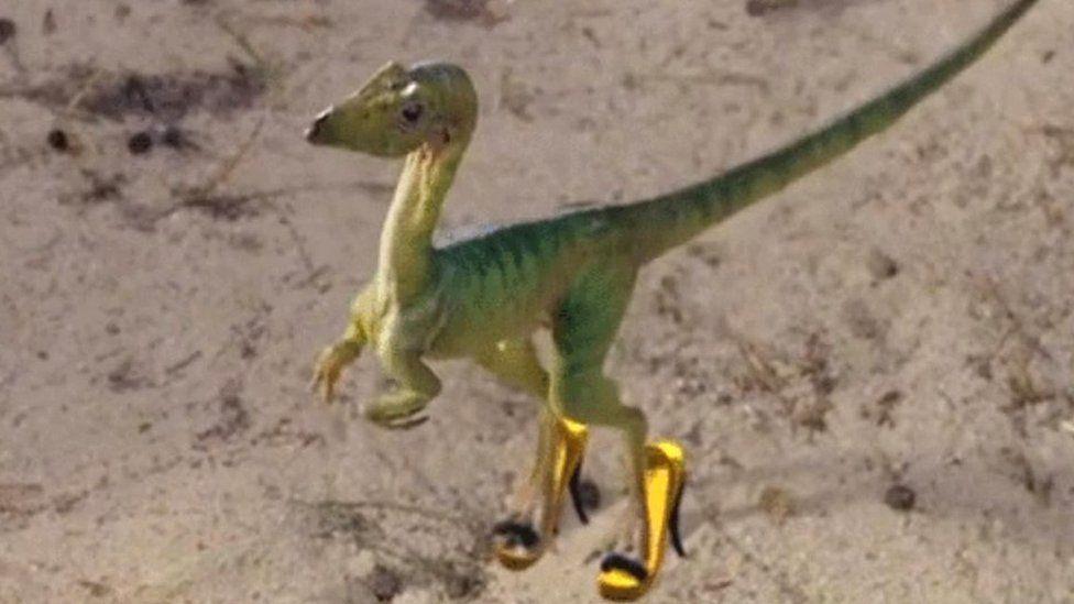 A small dinosaur in heels