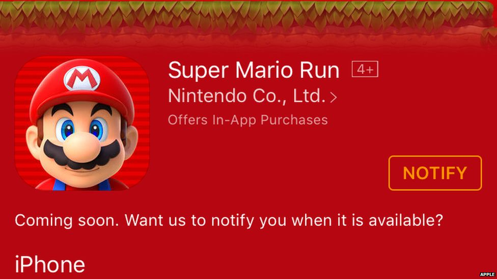 The Super Mario Run page on the App Store
