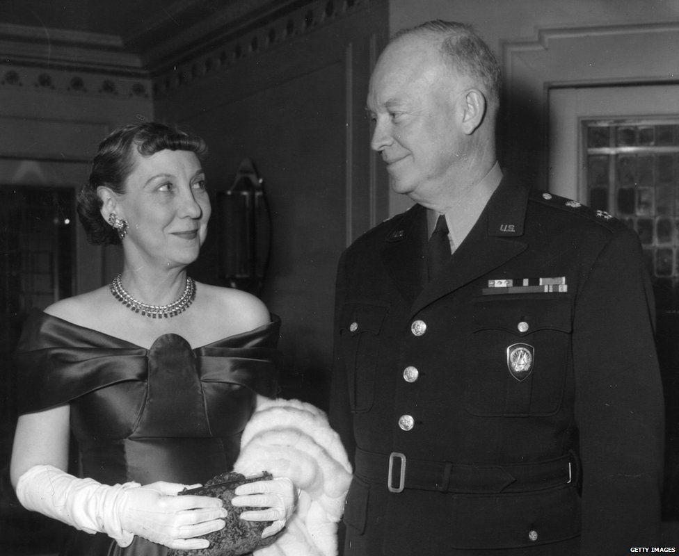 Maime Eisenhower with her husband, Dwight D Eisenhower