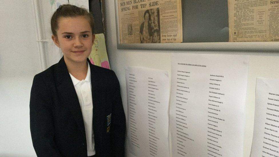 Amy with the names of the 144 people killed in the Aberfan disaster