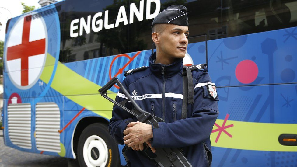French police guarding the England team bus