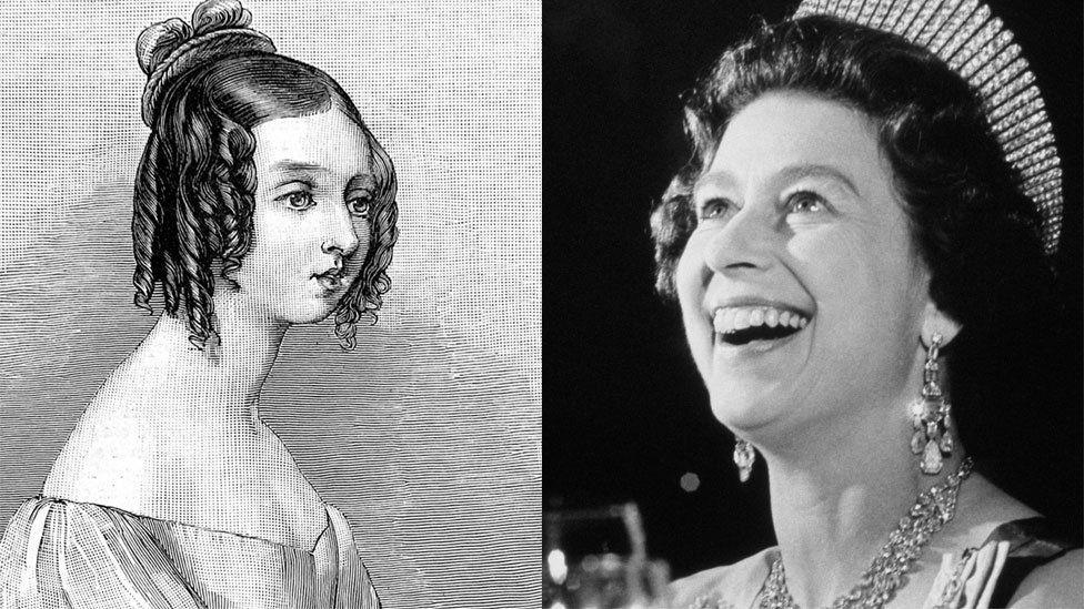 Drawing of Queen Victoria and photograph of Queen Elizabeth II