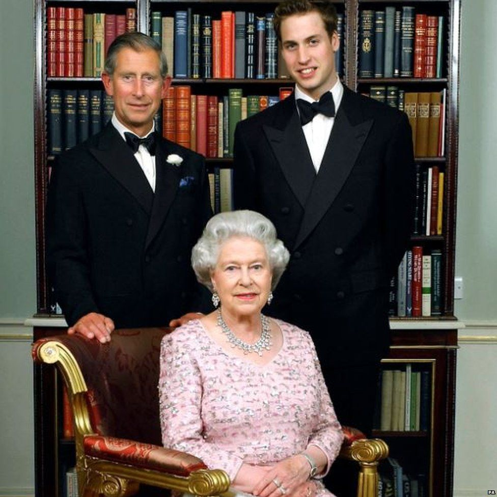Prince Charles, Prince William and Queen Elizabeth II
