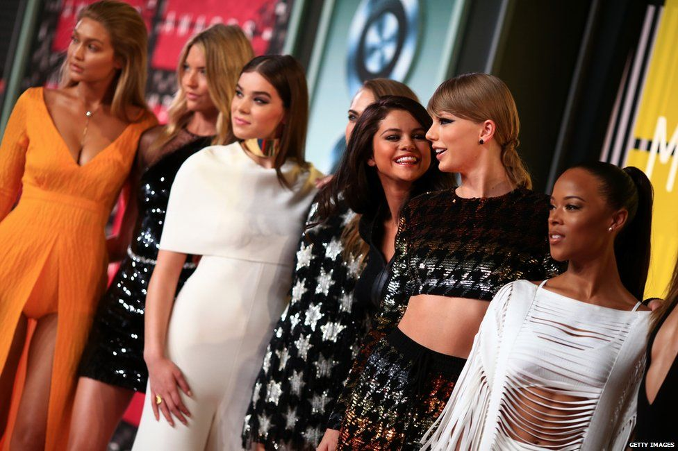 Gigi Hadid, Martha Hunt, Hailee Steinfeld, Cara Delevingne, Selena Gomez, Taylor Swift and Serayah
