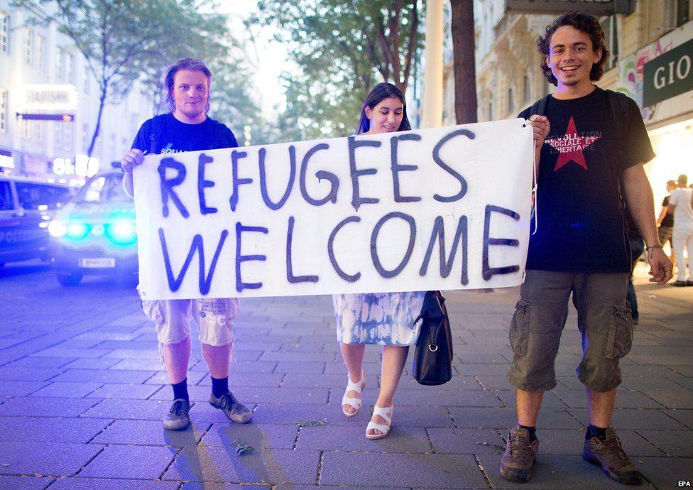 Pro-refugee march in Vienna, Austria