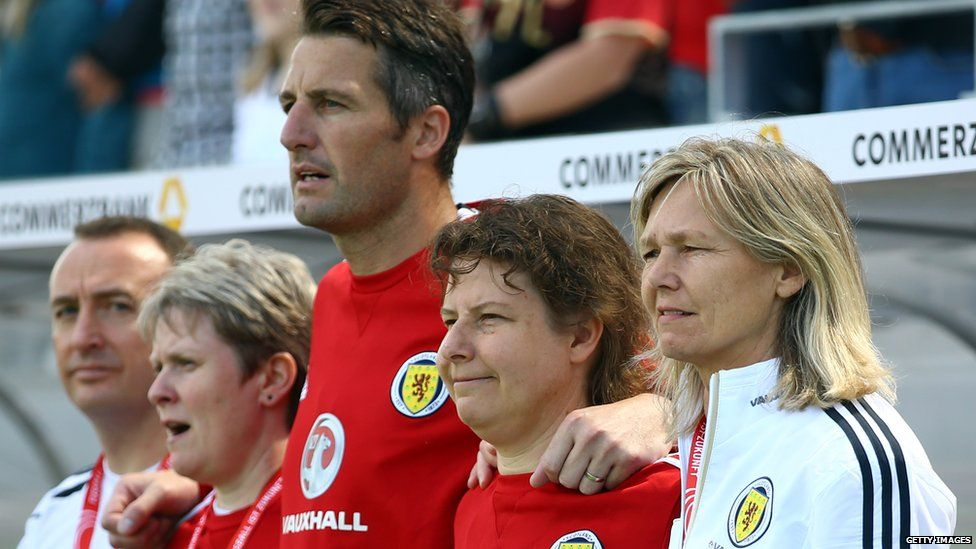 Scotland conduct manager Anna Signeul alongside her staff