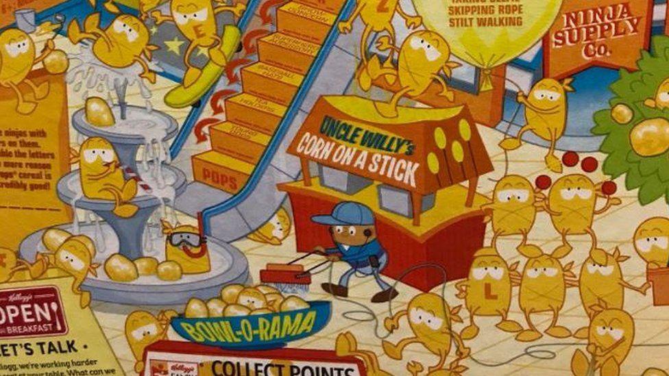Art work on Corn Pops box.