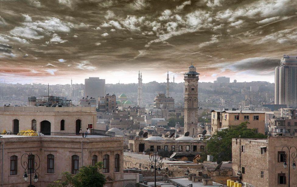 Vista aérea de Aleppo
