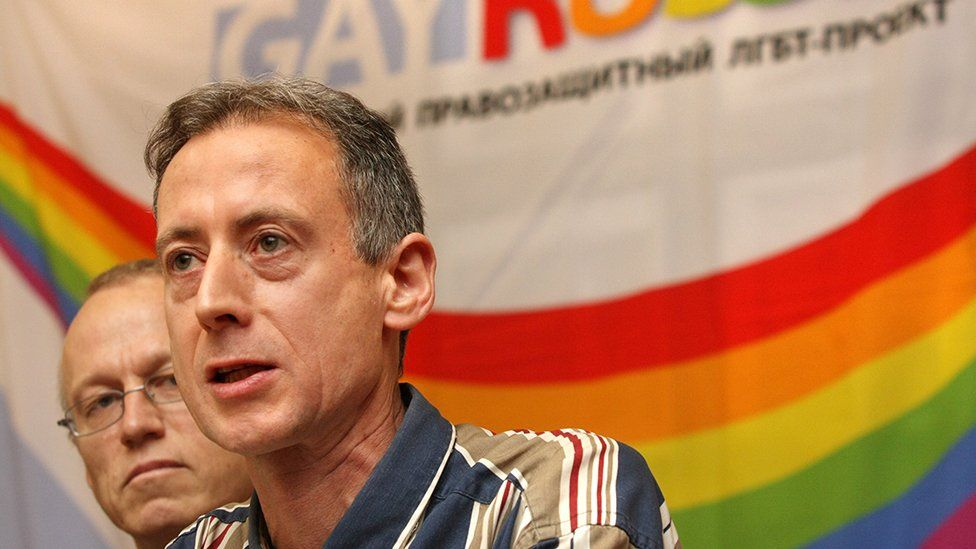 Peter Tatchell speaking at a press conference in Moscow