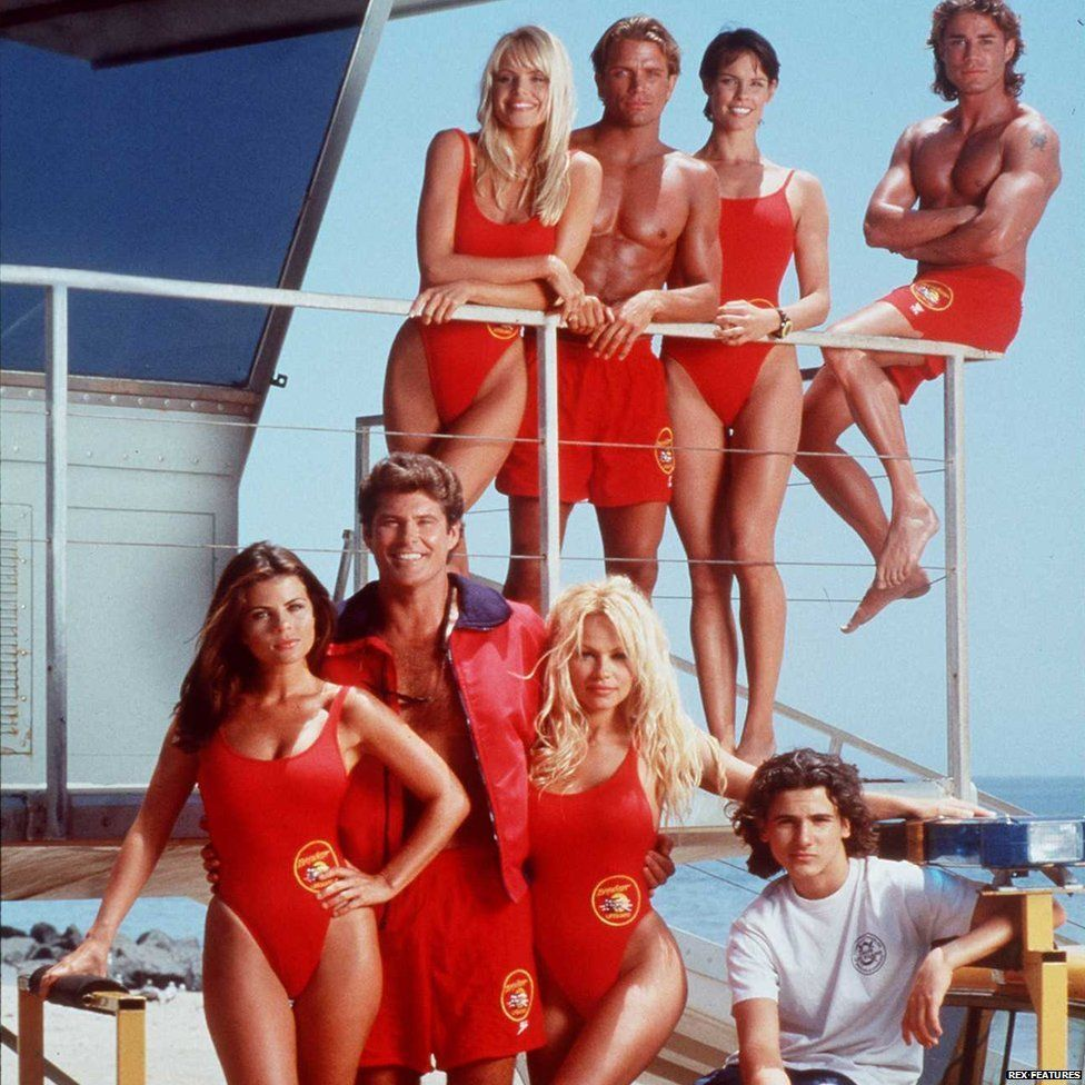 The cast of Baywatch from 1995 including David Hasselhoff, Pamela Anderson and Yasmine Bleeth