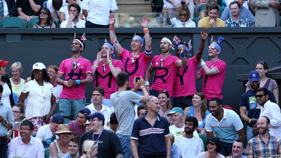 Andy Murray fans wearing t-shirts with his name on at Wimbledon