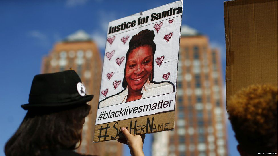 Protestors after the death of Sandra Bland