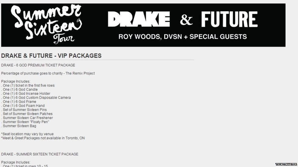 Drake cancels meet and greets during summer sixteen tour bbc newsbeat ticketmaster screen shot m4hsunfo