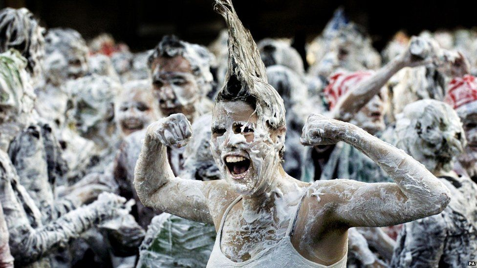 Students covered in shaving cream